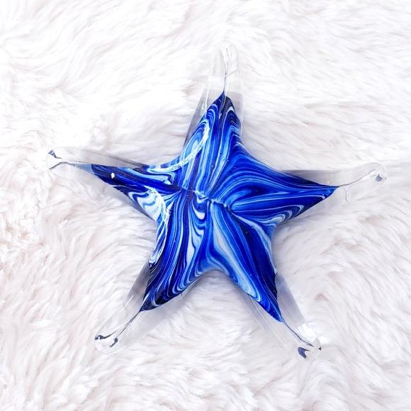 "Glass Starfish Decor 4"" x 1"""